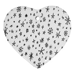 Star Doodle Heart Ornament (two Sides)