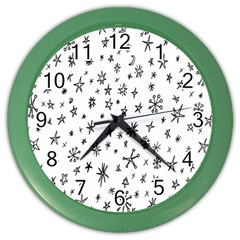 Star Doodle Color Wall Clocks by Mariart
