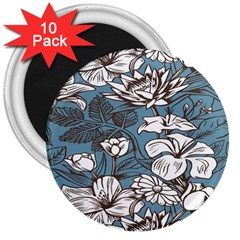 Star Flower Grey Blue Beauty Sexy 3  Magnets (10 Pack)