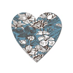 Star Flower Grey Blue Beauty Sexy Heart Magnet by Mariart