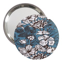 Star Flower Grey Blue Beauty Sexy 3  Handbag Mirrors