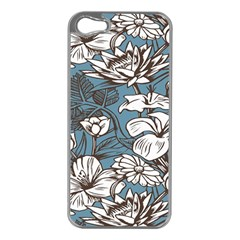 Star Flower Grey Blue Beauty Sexy Apple Iphone 5 Case (silver)