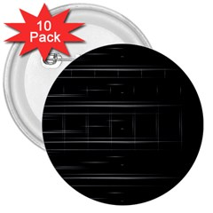 Stripes Black White Minimalist Line 3  Buttons (10 Pack)  by Mariart