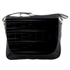 Stripes Black White Minimalist Line Messenger Bags