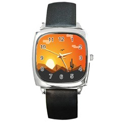 Sunset Natural Sky Square Metal Watch by Mariart