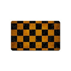 Square1 Black Marble & Yellow Grunge Magnet (name Card) by trendistuff