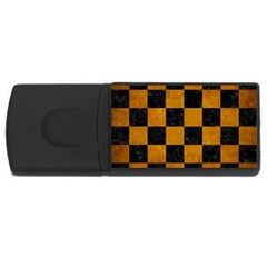 Square1 Black Marble & Yellow Grunge Rectangular Usb Flash Drive by trendistuff
