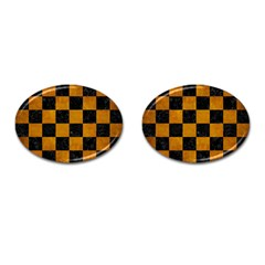 Square1 Black Marble & Yellow Grunge Cufflinks (oval) by trendistuff