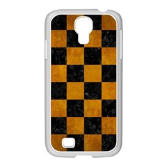 Square1 Black Marble & Yellow Grunge Samsung Galaxy S4 I9500/ I9505 Case (white) by trendistuff