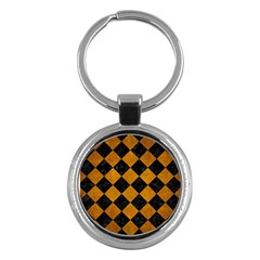 Square2 Black Marble & Yellow Grunge Key Chains (round)  by trendistuff
