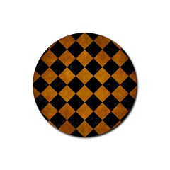 Square2 Black Marble & Yellow Grunge Rubber Coaster (round)  by trendistuff
