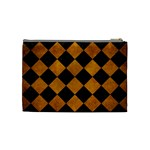 SQUARE2 BLACK MARBLE & YELLOW GRUNGE Cosmetic Bag (Medium)  Back