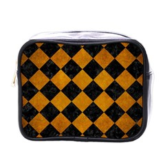 Square2 Black Marble & Yellow Grunge Mini Toiletries Bags by trendistuff