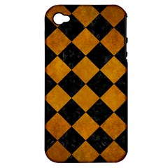 Square2 Black Marble & Yellow Grunge Apple Iphone 4/4s Hardshell Case (pc+silicone) by trendistuff