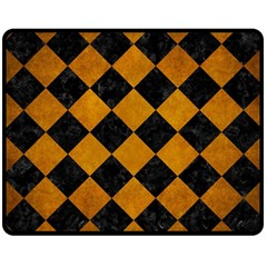 Square2 Black Marble & Yellow Grunge Double Sided Fleece Blanket (medium)  by trendistuff