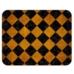 Square2 Black Marble & Yellow Grunge Double Sided Flano Blanket (medium)  by trendistuff