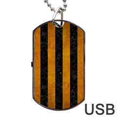 Stripes1 Black Marble & Yellow Grunge Dog Tag Usb Flash (one Side) by trendistuff