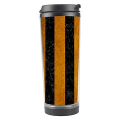 Stripes1 Black Marble & Yellow Grunge Travel Tumbler by trendistuff
