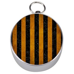Stripes1 Black Marble & Yellow Grunge Silver Compasses by trendistuff