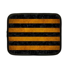 Stripes2 Black Marble & Yellow Grunge Netbook Case (small)  by trendistuff