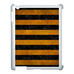 Stripes2 Black Marble & Yellow Grunge Apple Ipad 3/4 Case (white) by trendistuff
