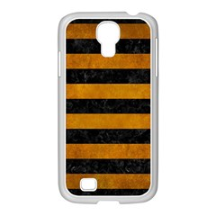 Stripes2 Black Marble & Yellow Grunge Samsung Galaxy S4 I9500/ I9505 Case (white) by trendistuff