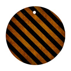 Stripes3 Black Marble & Yellow Grunge Round Ornament (two Sides) by trendistuff