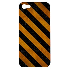 Stripes3 Black Marble & Yellow Grunge Apple Iphone 5 Hardshell Case by trendistuff
