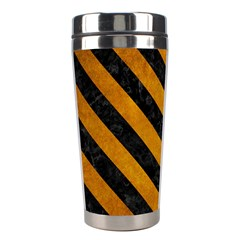 Stripes3 Black Marble & Yellow Grunge Stainless Steel Travel Tumblers by trendistuff