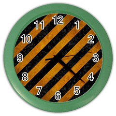 Stripes3 Black Marble & Yellow Grunge (r) Color Wall Clocks by trendistuff