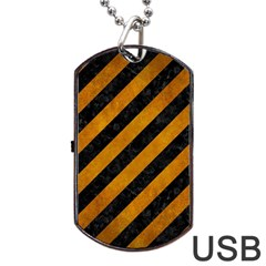 Stripes3 Black Marble & Yellow Grunge (r) Dog Tag Usb Flash (two Sides) by trendistuff