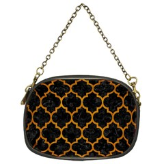 Tile1 Black Marble & Yellow Grunge (r) Chain Purses (one Side)  by trendistuff