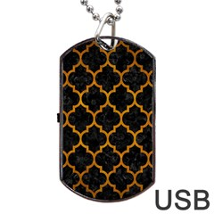 Tile1 Black Marble & Yellow Grunge (r) Dog Tag Usb Flash (one Side) by trendistuff