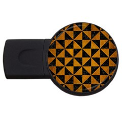 Triangle1 Black Marble & Yellow Grunge Usb Flash Drive Round (2 Gb) by trendistuff