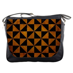 Triangle1 Black Marble & Yellow Grunge Messenger Bags