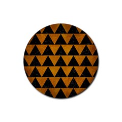 Triangle2 Black Marble & Yellow Grunge Rubber Coaster (round)  by trendistuff