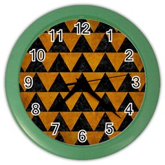 Triangle2 Black Marble & Yellow Grunge Color Wall Clocks by trendistuff