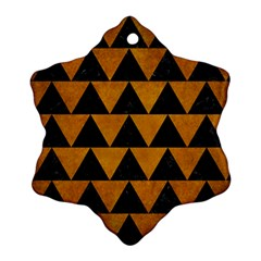 Triangle2 Black Marble & Yellow Grunge Snowflake Ornament (two Sides) by trendistuff
