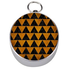 Triangle2 Black Marble & Yellow Grunge Silver Compasses by trendistuff