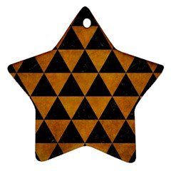 Triangle3 Black Marble & Yellow Grunge Ornament (star) by trendistuff