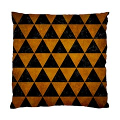 Triangle3 Black Marble & Yellow Grunge Standard Cushion Case (two Sides) by trendistuff