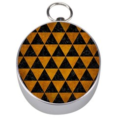 Triangle3 Black Marble & Yellow Grunge Silver Compasses by trendistuff