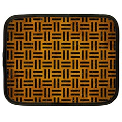Woven1 Black Marble & Yellow Grunge Netbook Case (large) by trendistuff