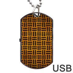 Woven1 Black Marble & Yellow Grunge Dog Tag Usb Flash (one Side) by trendistuff