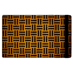 Woven1 Black Marble & Yellow Grunge Apple Ipad 3/4 Flip Case by trendistuff
