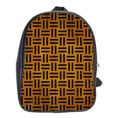 Woven1 Black Marble & Yellow Grunge School Bag (xl) by trendistuff