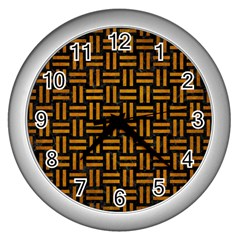 Woven1 Black Marble & Yellow Grunge (r) Wall Clocks (silver)  by trendistuff