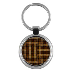 Woven1 Black Marble & Yellow Grunge (r) Key Chains (round)  by trendistuff