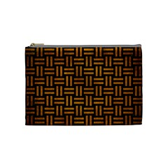 Woven1 Black Marble & Yellow Grunge (r) Cosmetic Bag (medium)  by trendistuff