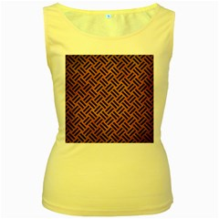 Woven2 Black Marble & Yellow Grunge Women s Yellow Tank Top